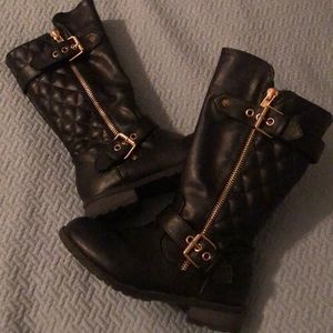 Sz 12 girls black riding boots with buckle zipper